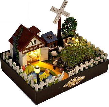 Maison De PoupéesFerme bois Doll House Mini maison meubles artisanat Miniature en bois maison poupées salle cadeaux
