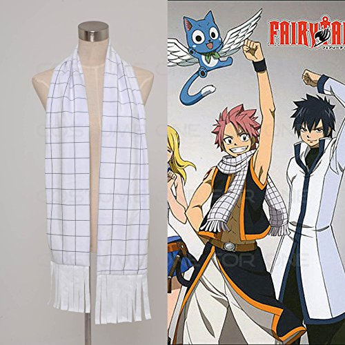 Bling-Shop Cosplay Anime FAIRY TAIL Natsu Dragneel white plaid Scarf/ Muffler