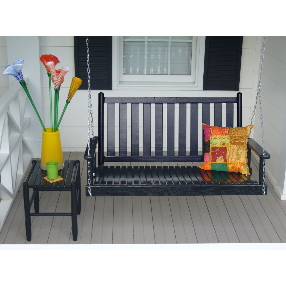Dixie 4 ft slat back wood porch swing check price