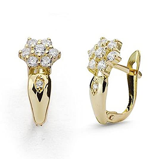 18k gold cubic zirconia earrings 15mm. Leverback communion [9058P]