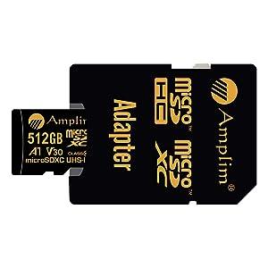 Amplim 512GB V30 A1 Pro Micro SD Card. MicroSD SDXC Memory Card Plus Adapter Pack (Class 10 U3 UHS-I XC 667X 100MB/s) 512 GB MicroSDXC Card TF Flash - Cell Phone, Drone, Camera, GoPro Hero 7 Black (Color: Black 512GB, Tamaño: MicroSD)
