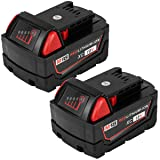ROALLY 2 Pack 6.0Ah High Capacity Replace for Milwaukee M18 Battery 48-11-1815 48-11-1820 48-11-1828 48-11-1850 Cordless Power Tools