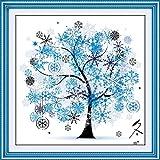 DIY Cross Stitch Kit Embroidery Kits Handmade Precise Printed Cross-Stitching Set Colorful Tree Home Decoration, Winter