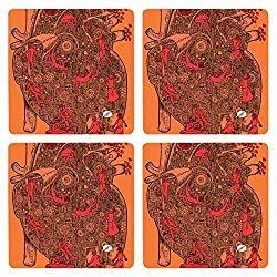 Posterboy The Love Machine MDF Coaster Set, Set of 4, 101mm, Multicolor
