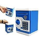 SZAT PRO Blue Electric Electronic Piggy Bank Kids Boys Money Safe Box Jar Coins Cashes Bills Password Key Code ATM Saver Toy (Color: Blue)