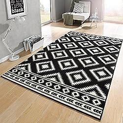 Designer Velours Teppich Ethno Schwarz Creme | 102412, Größe:120x170