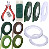Supla 31 Pack Floral Arrangement Kit Green Brown Clear Floral Tape Waterproof Wire Cutter Stem Wire Floral Wire U Shaped Floral Pins for Bouquet Stem Wrap Florist