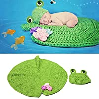 yazi Newborn Baby Photography Props Green Frog Hat Lotus Leaf Blanket Crochet Easter Costume by Happyness2014