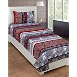 ATOZ Home Decor 3D Print Polycotton Brown Traditional Print Single Bedsheet With 1 Pillow Covers