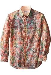 Isaac Mizrahi Big Boys' Boy's Two Tone Botanical Print Shirt