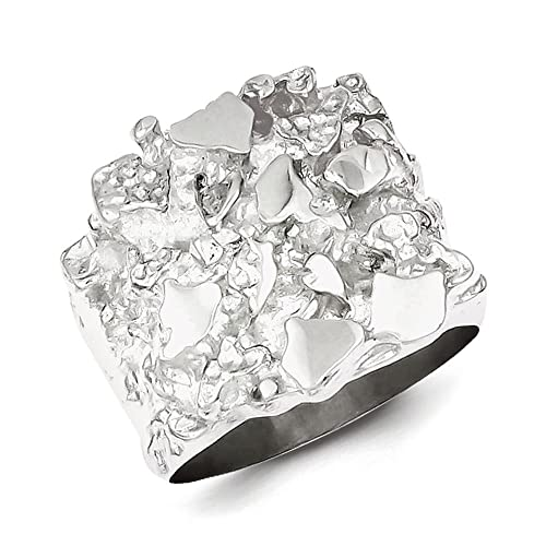 Sterling Silver Mens Nugget Ring - Ring Size Options Range: R to V