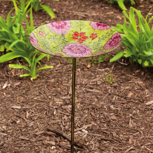 English Garden Glass Birdbath