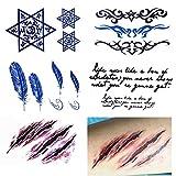 COKOHAPPY Temporanei Temporaneo Tatuaggi Tattoo 5 Diverso PCS , Totem Piuma Stella di David Cicatrice Parola Per Uomo Donna