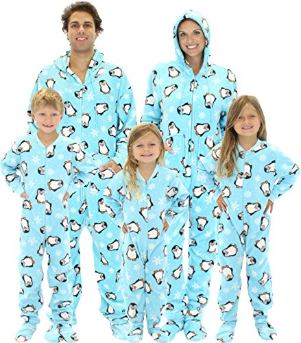 SleepytimePjs Blue Penguin Family Matching Fleece One Piece Footed Pajamas