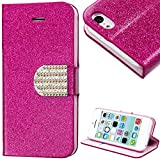 myLife Deep Pink and Pink {Sparkly Glitter and Bling Buckle Design} Faux Leather (Card, Cash and ID Holder + Magnetic Closing) Slim Wallet for the iPhone 5C Smartphone by Apple (External Textured Synthetic Leather with Magnetic Clip + Internal Secure Snap In Hard Rubberized Bumper Holder)