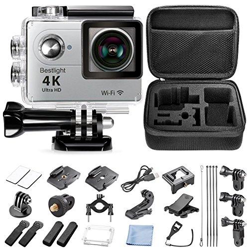 Bestlight® 4K 10fps WIFI Action Caméra 2 Pouces LCD 170° Grand Angle Full HD Objectif, 98ft / 30m Caméra Etanche Sports de Plein Air avec 900mah