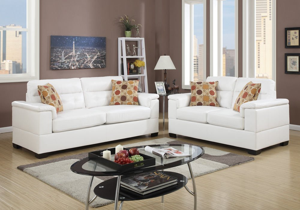 1PerfectChoice Contemporary 2 pcs Sofa Loveseat Couch Set White Bonded Leather Accent Pillow