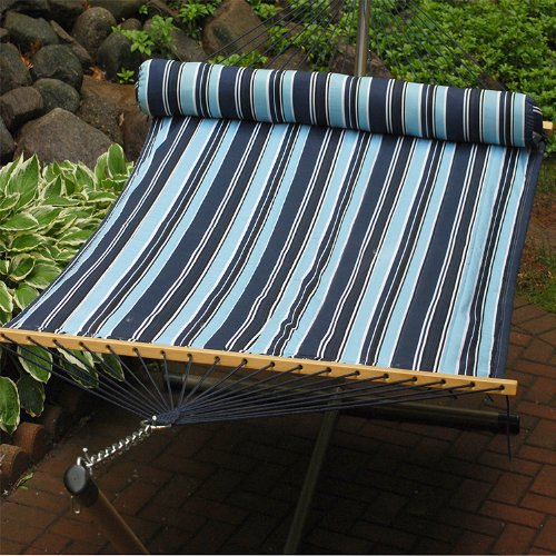 82″ x 55″ Navy & Sky Blue Striped Reversible Quilted Double Hammock with Pillow