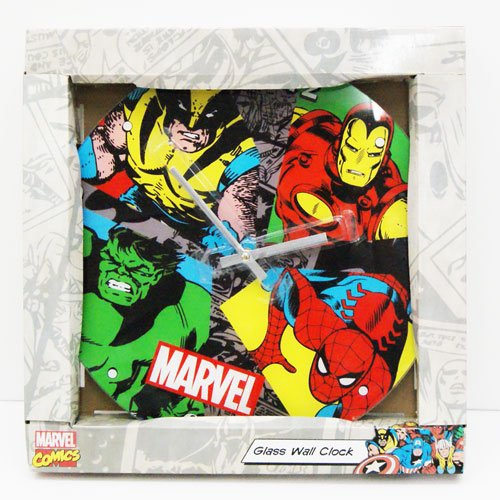 MARVEL マーベル コミック ウオールクロック 壁掛け時計 ガラス製