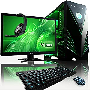 "VIBOX Warrior Package 4X - Fast 4.0GHz 6-Core, High Spec, Desktop Gaming PC, Computer Complete Full Package Including: 22"" Monitor, Headset, Gamer's Keyboard & Mouse Set AND a Neon Green Internal Lighting Kit (AMD FX 6300 Six Core Processor, 2GB Nvidia Geforce GTX 960 HDMI Graphics Card, High Grade 500W PSU, 2TB Hard Drive, 8GB 1600MHz RAM, Memory Card Reader, No Operating System)"