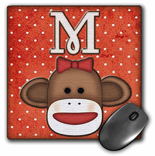 3dRose LLC 8 x 8 x 0.25 Inches Mouse Pad, Cute Sock Monkey Girl Initial Letter M (mp_102816_1)