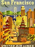 TRAVEL SAN FRANCISCO CALIFORNIA UNITED AIRLINE GOLDEN GATE USA POSTER ART 2495PY