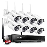 ZOSI 1080P 8CH HD Wireless Security Camera System 8Channel 1080P NVR 2TB Hard Drive and (8) HD 2.0MP 1080P Indoor/Outdoor Bullet IP Cameras 65ft Night Vision, Customizable Motion Detection (Tamaño: 1080P 8CH+8Camera+2TB)