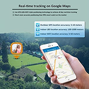 GPS Tracker For Kids Children Smart Watch Kids Wrist Watch T58 Anti-lost SOS Call Location Finder Remote Monitor Pedometer Functions Parent Control By iPhone and Android Smartphones APP (Silver)
