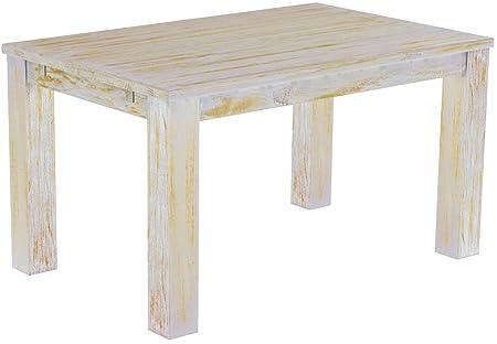 Brasil Meubles Table de salle à manger 'rio classico' 140x 90cm, en bois de pin massif, teinte shabby miel