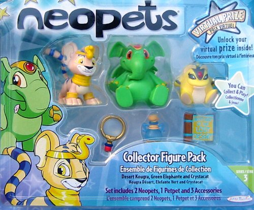 Buy Low Price Jakks Pacific Neopets Collector Figure Pack (Desert Kougra, Green Elephant and Crystacat) Series 3 (B002KBXGG2)