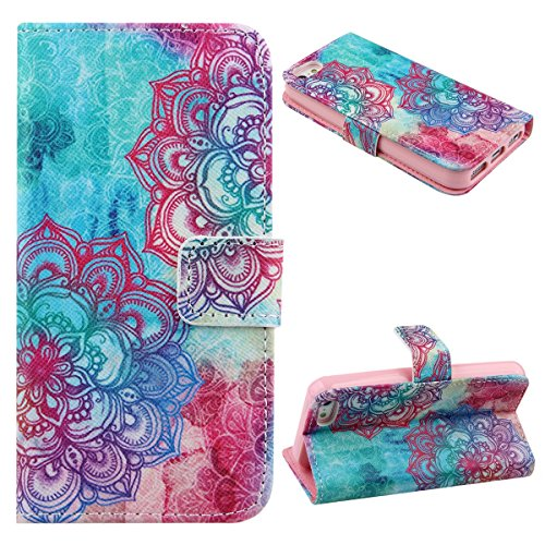 iPhone 5C Case,iPhone 5C Flip Case,UZZO Flower Elephant Print PU Leather Wallet Flip Protective Skin Case Folio Stand Case Cover with Built-in Credit Card/ID Card Slot for iPhone 5C (Iphone 5c Flower Case Protective compare prices)