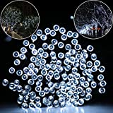 String lights,Addlon Christmas Lights 72ft(22m) 200 LED (10-clip included), Solar LED String Light 8work Modes,ambiance Fairy String Light for Outdoor,indoor Decor,outside Garden, Patio, Home, Wedding Party, Holiday Seasonal Decorations, Christmas party,Waterproof(Cool White)