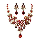 Napoo Clearance Lady Wedding Pearl Rhinestone Short Necklace+Earrings Jewelry Set (Red)