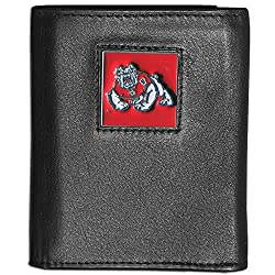 NCAA Fresno State Bulldogs Deluxe Leather Tri-Fold Wallet Packed in Gift Box
