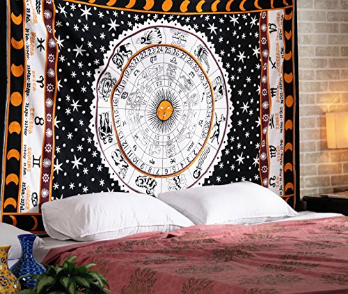 White Zodiac Horoscope Tapestry, Indian Astrology Hippie Wall Hanging, Divine Ethnic Decorative Gift Art, Sun Moon Celtic Zodiac Tapestry (Zodiac Accesories compare prices)