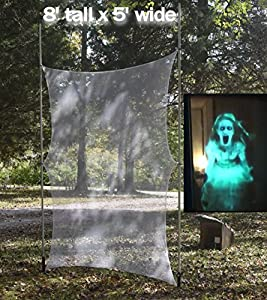 8 Foot Hologram Screen with Gromets,Works with Atmosfearfx Ghostly Apparitions and Phantasms DVDs
