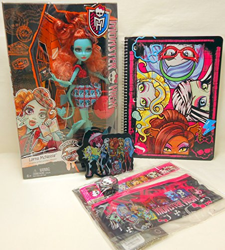 Monster High Monster Exchange Gift Set Lorna McNessie Doll, Notebook, Pencil Pouch, Erasers and more!