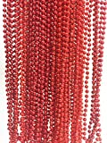 GIFTEXPRESS-48pcs-Red-Metallic-Bead-NecklacesMardi-Gras-Beadsperfect-for-flapper-bead-partymardi-gras-party-fundraiser