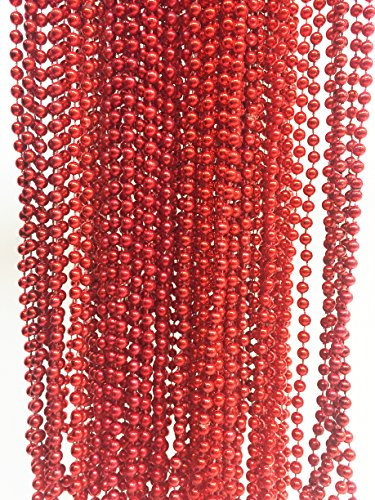 GIFTEXPRESS 48pcs Red Metallic Bead Necklaces/Mardi Gras Beads/perfect for flapper bead party/mardi gras party