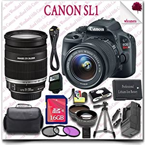 """Canon EOS Rebel SL1 Camera with EF-S 18-55mm STM + Canon EF-S 18-200mm IS II Lens + 16GB SDHC Class 10 Card + Wide Angle Lens / Telephoto Lens + 3pc Filter Kit + HDMI Cable + SLR Gadget Bag + 57"""" Tripod + External Slave Flash 20pc Canon Saver Bundle"""