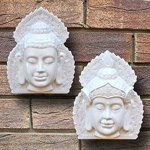 Pair of White Terracotta Buddha Head Wall Art Garden Ornaments by Gardens2you
