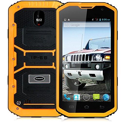 "Padgene 5"" Android 4.2 Wasserdicht 3G Robuste Dual Core Dual SIM Smartphone Touchscreen Handy Ohne Vertrag Mobiltelefon (Dunkelgelb)"