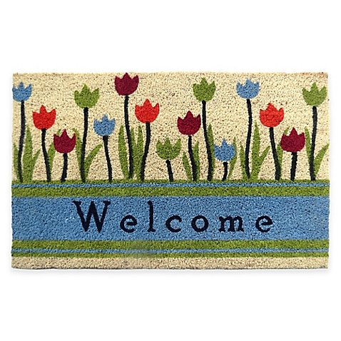 Welcome Tulip 30-Inch x 18-Inch Door Mat (Aluminum Door Mat compare prices)