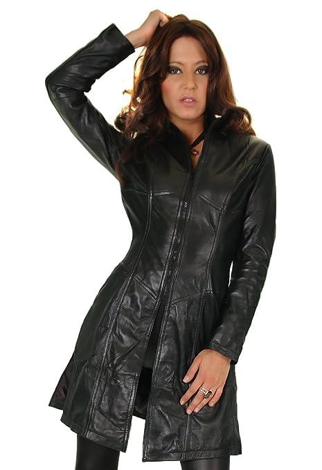 Damen Lederjacke in schwarz, figurbetonter Schnitt mit Zipper, Modell 90