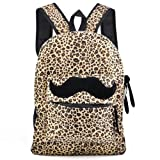 Outdoortips Fashion Leopard Mustache Backpack Girl Campus Satchel Bag