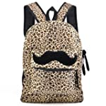tinxs Girl lady Mustache Canvas Leopa...