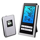 ORIA Indoor Outdoor Thermometer, Digital Wireless Temperature Monitor, LCD Screen Remote Thermometer, ?/? Switch, with Alarm Clock and Snooze Function for Home, Office (Battery Not Included)