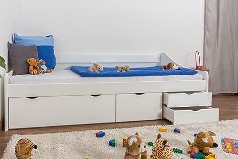 Holzbett / Funktionsbett Kiefer massiv Vollholz weiß lackiert 94, inkl. Lattenrost - Abmessung 90 x 200 cm