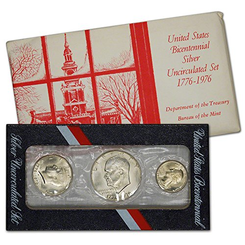 1976 US Mint Silver 3-pc Bicentennial Uncirculated Coin Set White ...