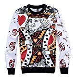 Moxeay 3D Print Pullover Hoodies Crewneck Sweatshirts (XXL, Poker King )